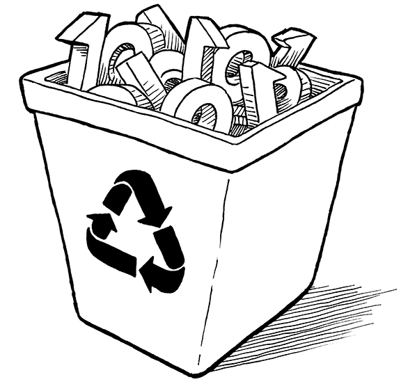 A recycle bin full of bits.