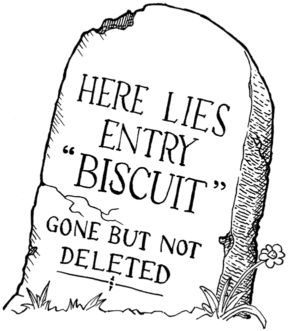 A tombstone enscribed 'Here lies entry bagel -> 3.75, gone but not deleted.