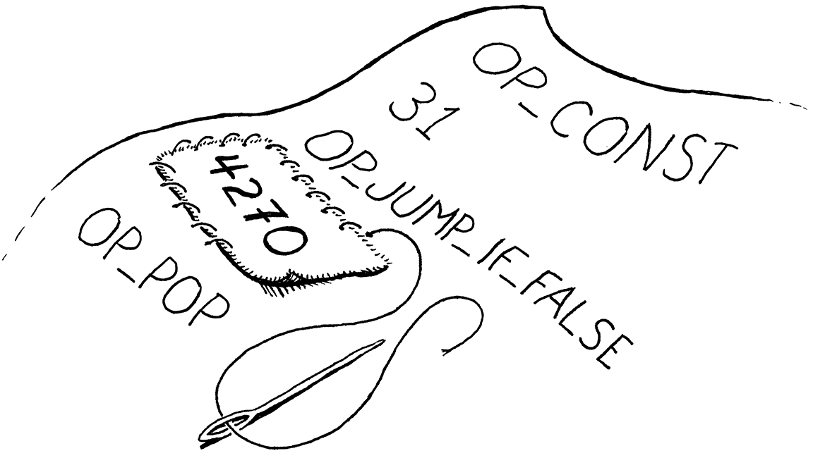 A patch containing a number being sewn onto a sheet of bytecode.